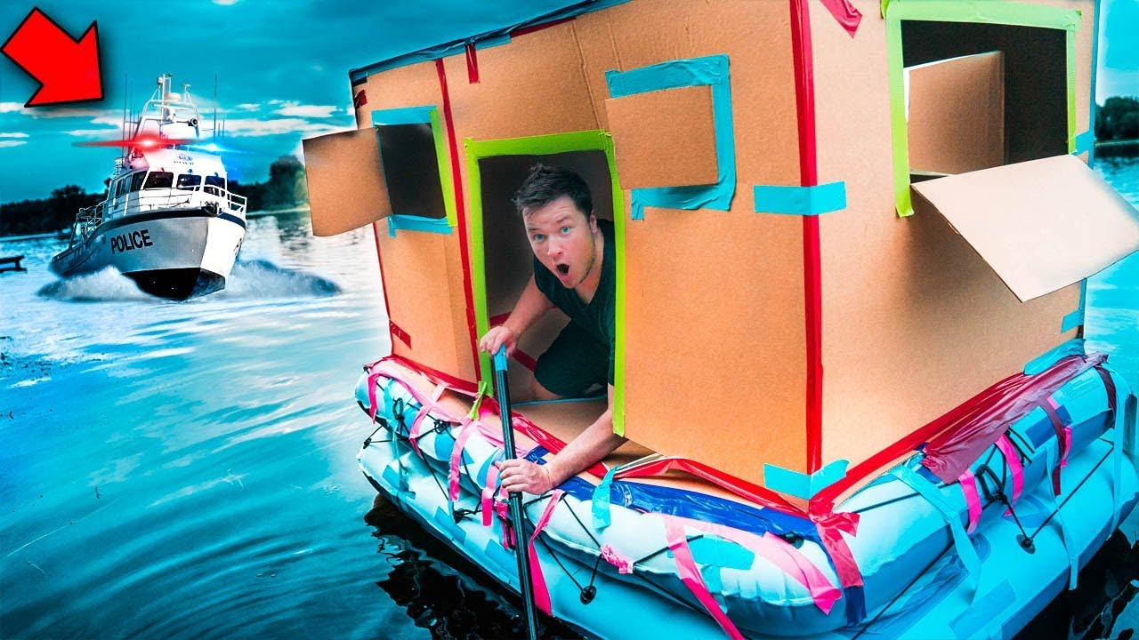 escaping-police-chase-in-floating-fort-24-hour-challenge