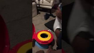 Baby scared of Mickey Mouse potty!