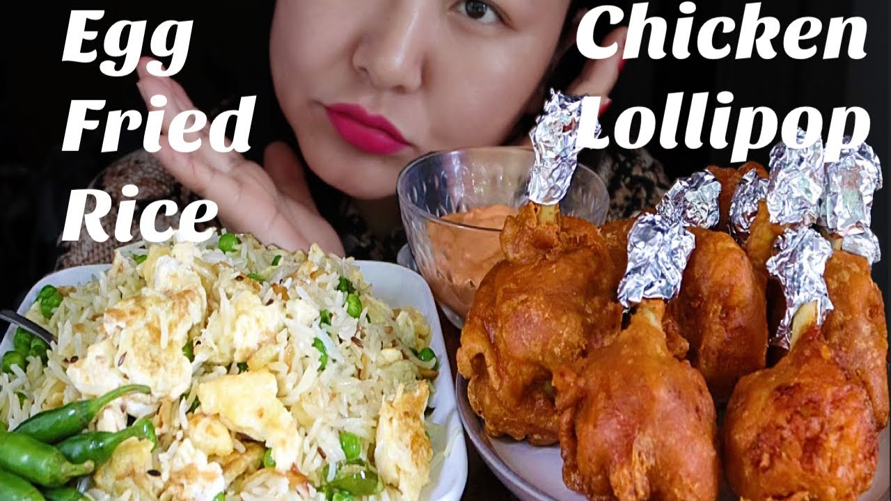 Indo Chinese chicken lollipop and egg fried rice eating MUKBANG/ASMR