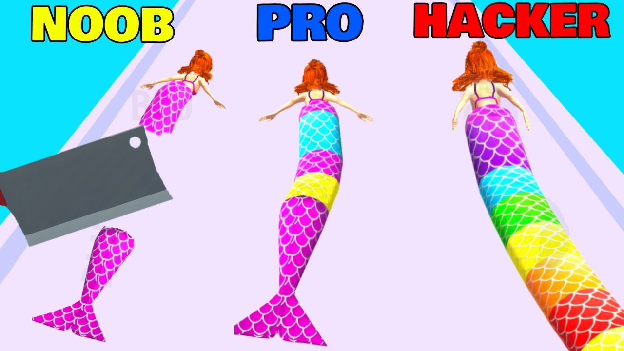 NOOB vs PRO vs HACKER in Mermaid Rush 3D