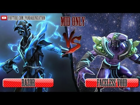 видео: faceless void vs razor [Битва героев mid only] dota 2