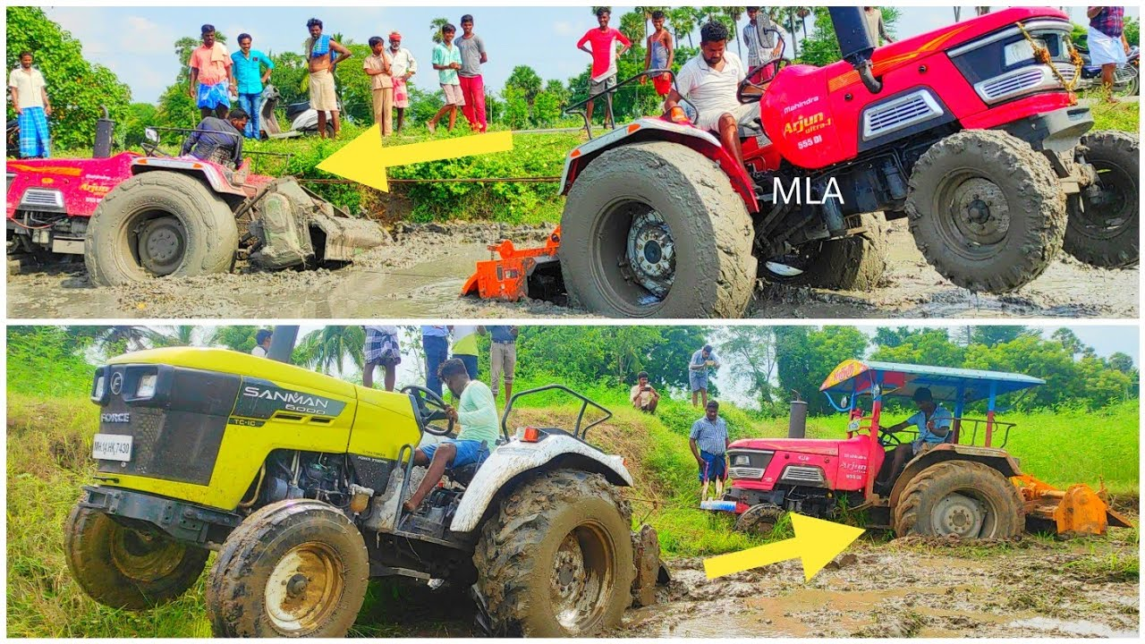 Mahindra Tractor Arjun Ultra 555 D stuck in mud rescue by sanman 6000 Tractor | Come For Village