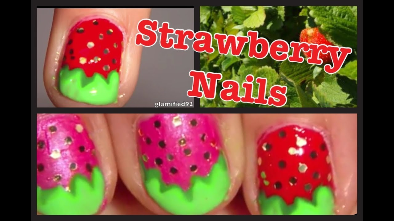 Easy Cute Strawberry Nail Art Tutoria For Short Nails Pink And