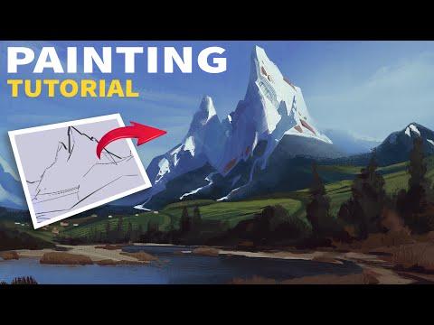 Landscape Digital Painting Tutorial (Mountain Peak Concept Art)