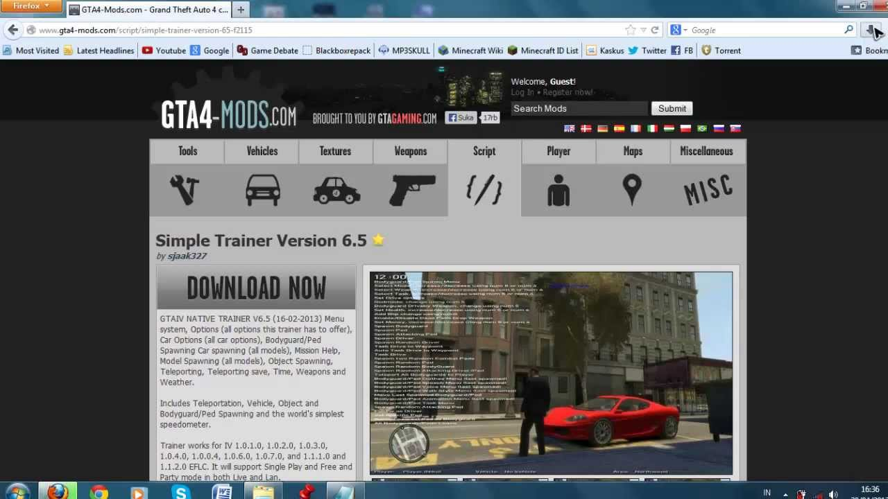 GTA IV Simple Native Trainer 6 5 Install (Works on all patches!)