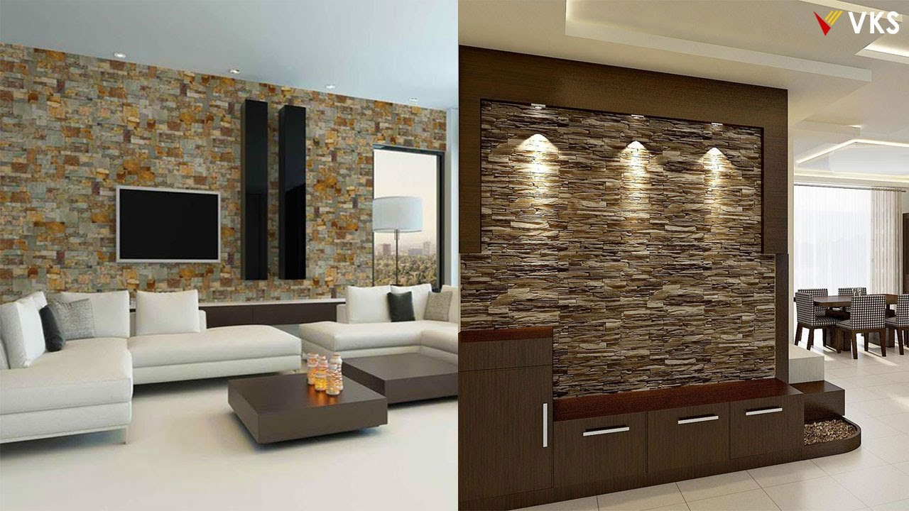 Stone Wall Cladding Design Ideas  Living Room Stone Wall Decor Ideas   Wall Decor Design