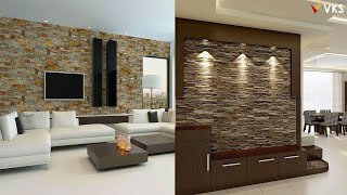 Modern Stone Wall Cladding Design Ideas | Living Room Stone Wall Decor Ideas | Home Wall Decor