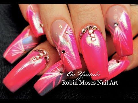 Diva Pink Chrome Nails   Striped Starburst Long Nail Art Design Tutorial