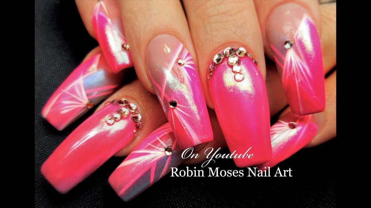 Diva Pink Chrome Nails | Striped Starburst Long Nail Art Design ...