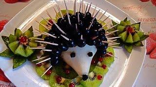Ежик из груши и винограда. Украшения из фруктов. Decoration of fruits. Hedgehog of pears and grapes
