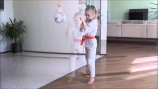 Киокушинкай дети. Домашняя тренировка каратэ кекусин-кан. Алиса К. 6 лет