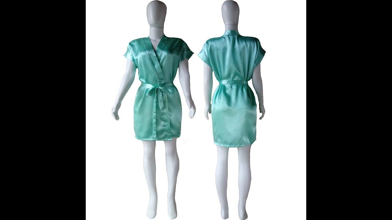 0e68f5af6702ae Hobby Robe Liso Roupão de Cetim Feminino Casamento Noiva Madrinha Cor Verde  Água