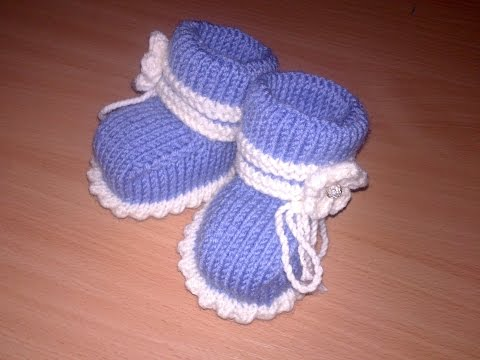 Вязаные пинетки спицами knitting booties.Часть 1.Как связать простые пинетки спицами+для начинающих.