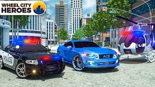 Police Car, Helicopter, Fire Truck pretend to catch Sports Car | Wheel City Heroes (WCH) New Cartoon
