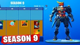 Unlocking ALL 100 TIERS Season 9 Battle Pass! (Fortnite Battle Royale)