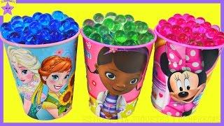 FROZEN Elsa y Anna Doctora Juguetes y Minnie mouse Vasos Sorpresas de orbeez  con Bolsitas Sorpresas