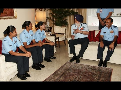 Female Fighter Pilots Interacting With Marshal Of The Indian Air Force Arjan Singh