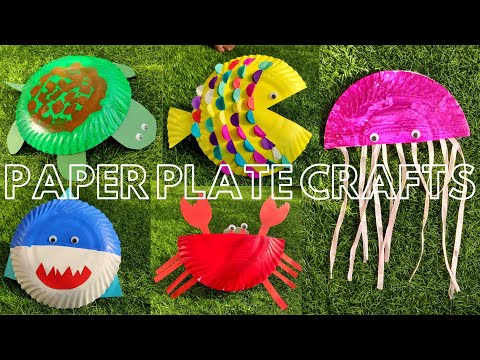 Easy Craft For Kids | Paper Plate Craft Ideas | Turtle | Fish | Jellyfish | Shark | Crab