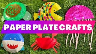 Paper Plate Craft Ideas | Aquatic Animals | Turtle | Fish | Jellyfish | Shark | Crab
