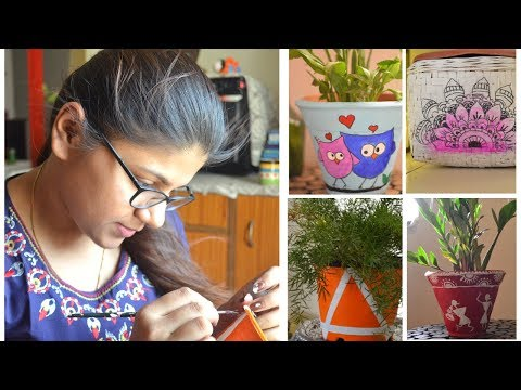 5 Simple and Easy Pot Painting Techniques | Step By Step DIY Tutorial|  Indoor Plants Decor Ideas