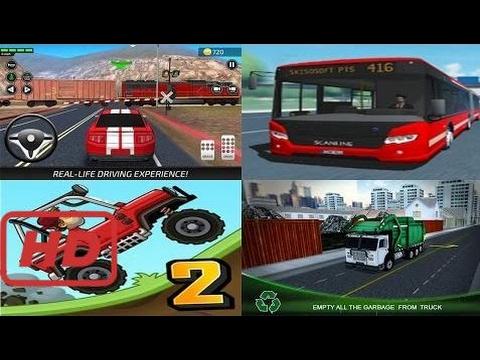 Hill Climb Racing 2 vs Car Driving Academy vs Public Transport Simulator vs Garbage Truck Dri  #ALA