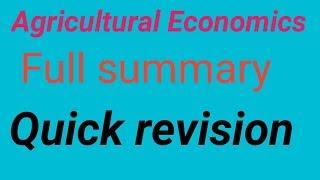 Agricultural economics summary