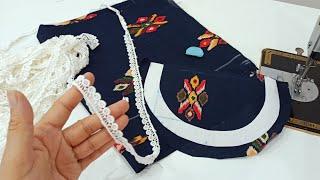 Lace से बनाएं Round Neck का खूबसूरत डिज़ाइन / Beautiful Round Neck Design with Lace