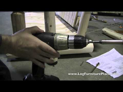 Log Porch Swing Assembly by LogFurniturePlace | Lakeland Mills Log Swing Assembly