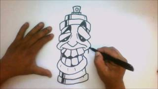 How to Draw a Spray Can Cartoon -Tutorial -, Graffiti