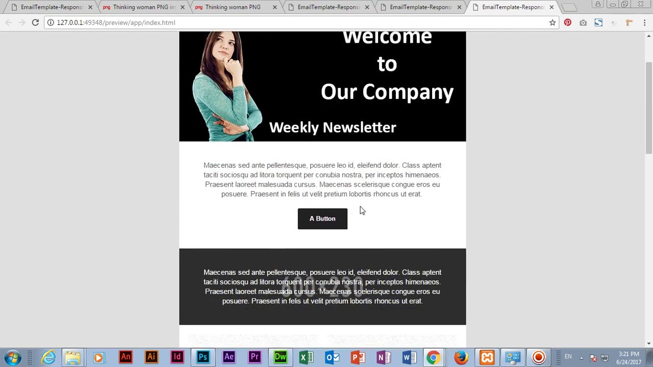 Create email template in adobe dreamweaver cc 2017 youtube for How to create an email newsletter template