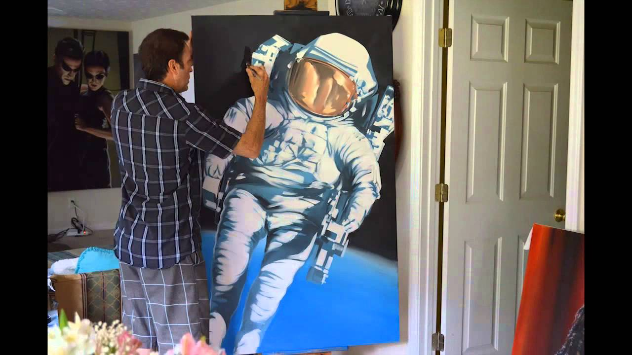 Astronaut oil painting time lapse original instructional Lee Bivens acrylic  YouTube