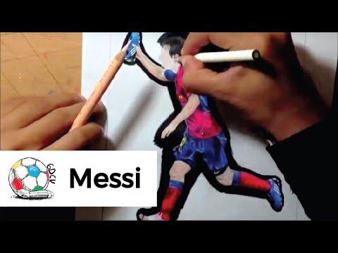 Dibujo de Messi celebrando su gol contra Manchester U en