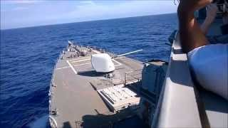USS Paul Hamilton (DDG-60) 5in Gun and 25mm Live Fire Exercise
