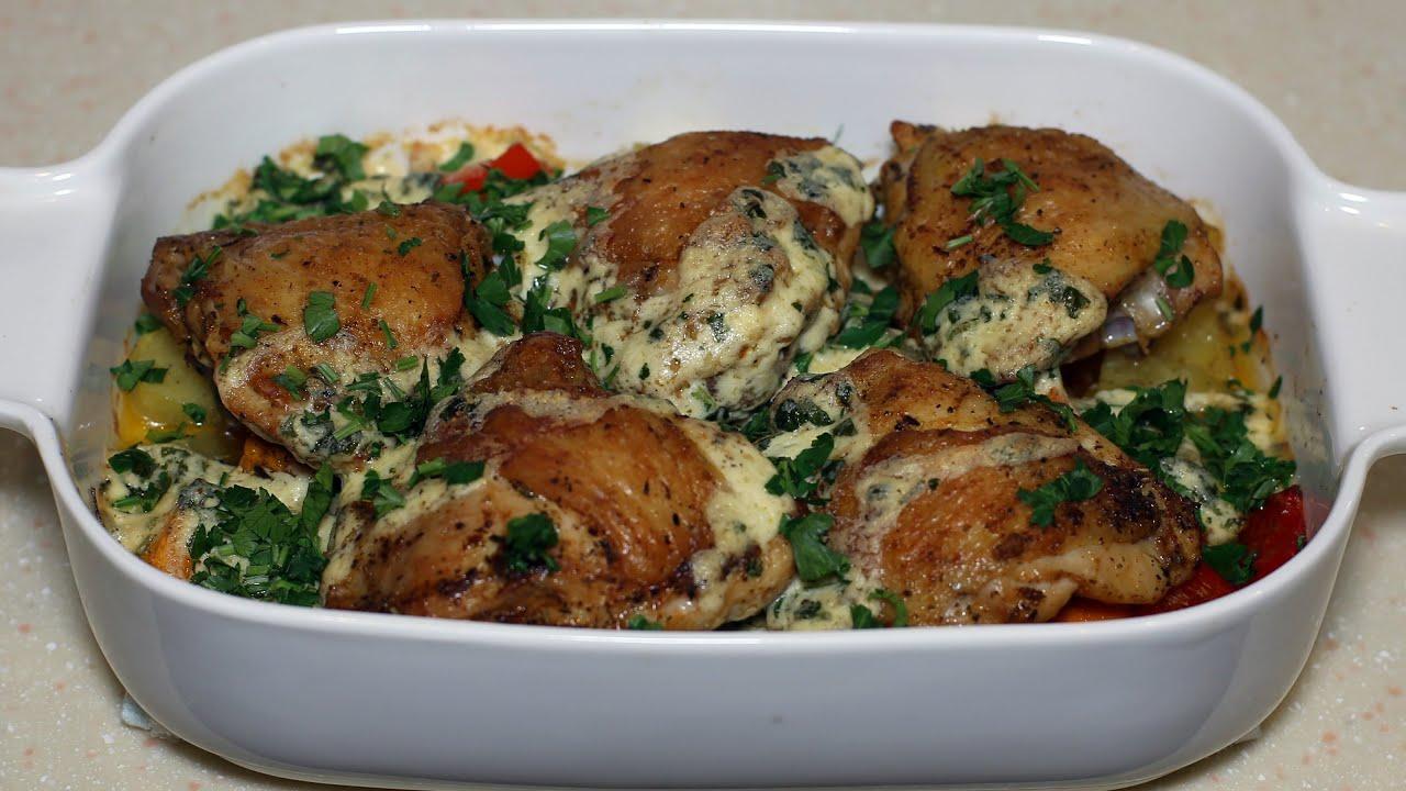 Быстрое горячее блюдо на праздник! Гарнир, мясо и соус в одном блюде.