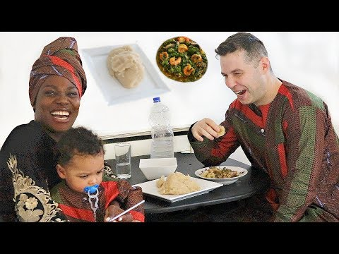 DAD & BABY EAT NIGERIAN OKRA SOUP & EBA FOR THE FIRST TIME