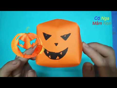 Halloween Craft-  DIY Paper Pumpkin - how to make paper pumpkins - Halloween Craft Ideas