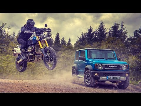 Off-Road Race: Suzuki Jimny vs Triumph Scrambler | Top Gear
