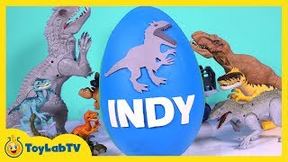 HUGE Jurassic World Play Doh Surprise Egg Indominus Rex, T-Rex, Surprise Toys & Dino Fossil Kit
