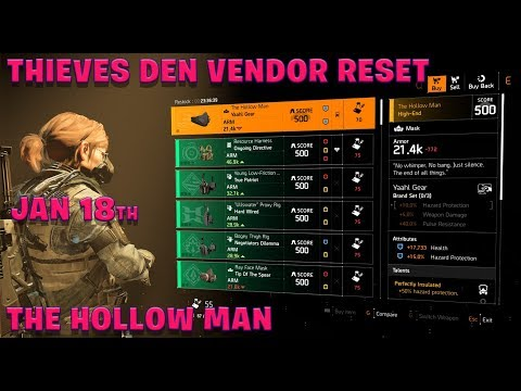 """The Division 2 """"THIEVES DEN VENDOR RESET"""" January 18th """"THE HOLLOW MAN"""""""