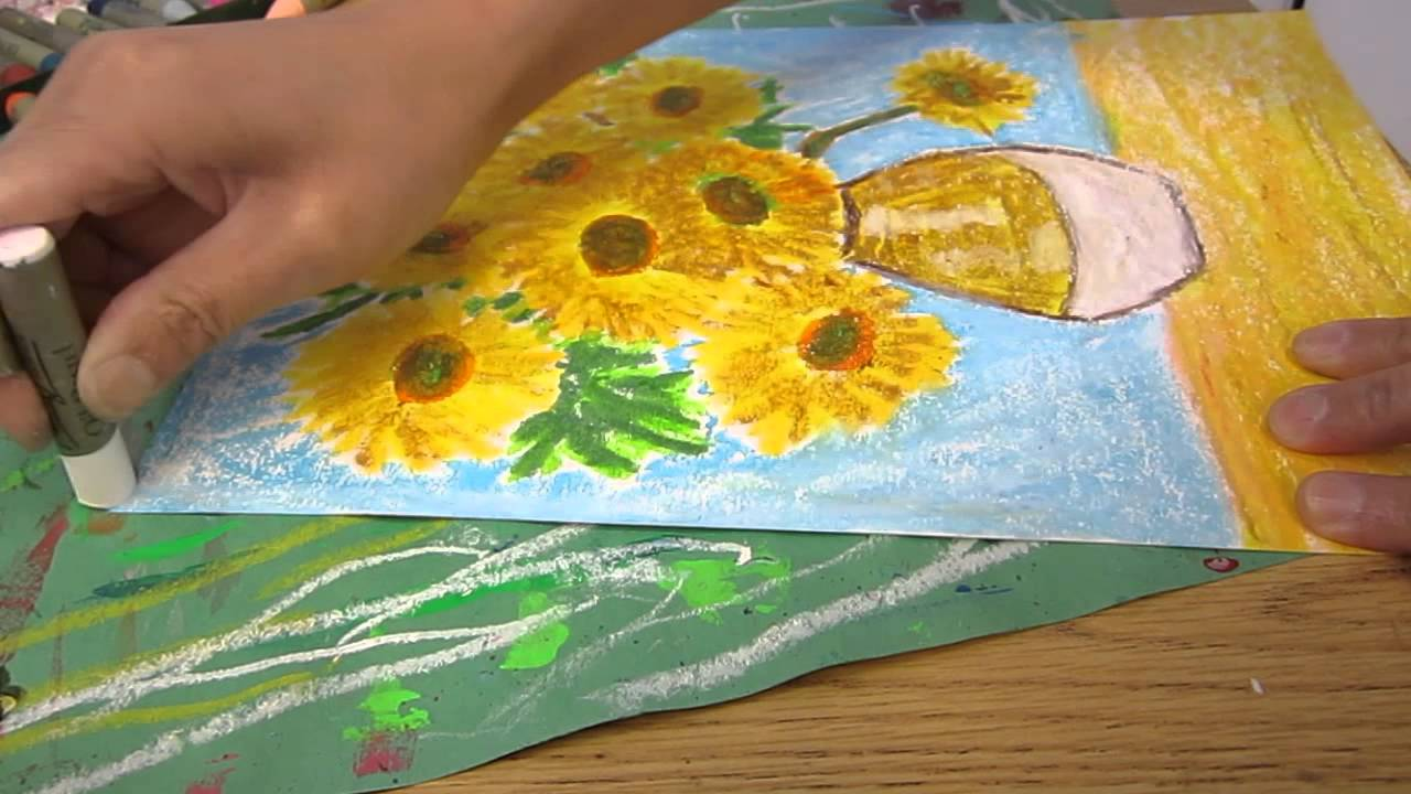 classplan drawing sunflower with oil pastel 02 youtube