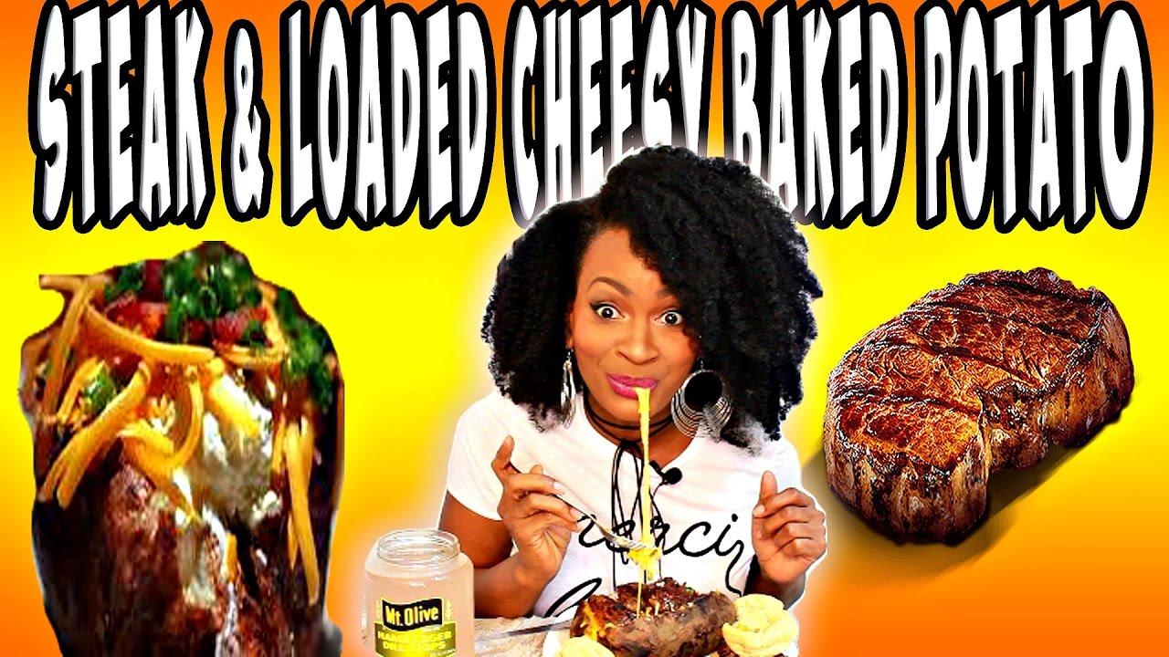 MUKBANG: STEAK AND LOADED CHEESY BAKED POTATO! EATING SHOW! YUMMYBITESTV