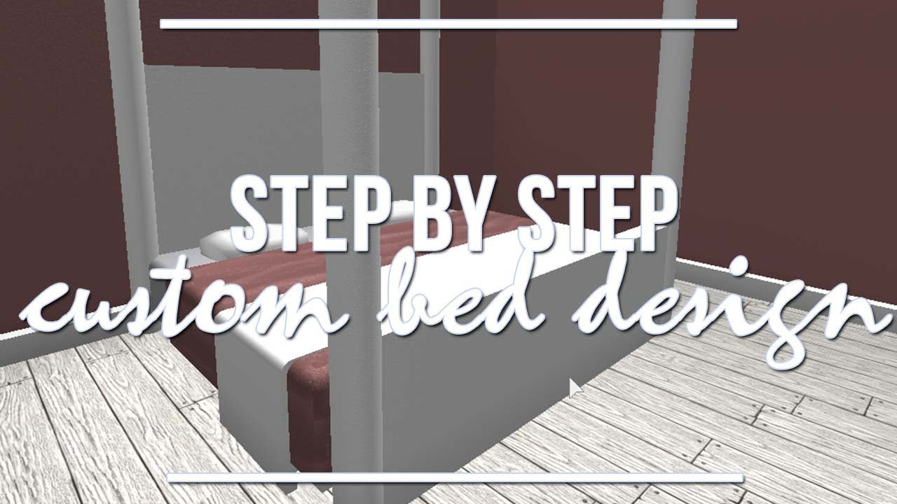 Roblox bloxburg step by step custom bed design youtube for Kitchen designs bloxburg