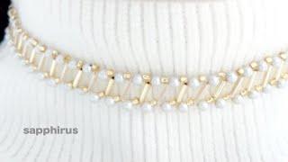 【金属アレルギー対応】竹ビーズとパールで編むビーズチョーカーの作り方☆ビーズステッチ初級 DIY/Beaded Necklace/Choker/Swarovski pearl/ Bugle Bead