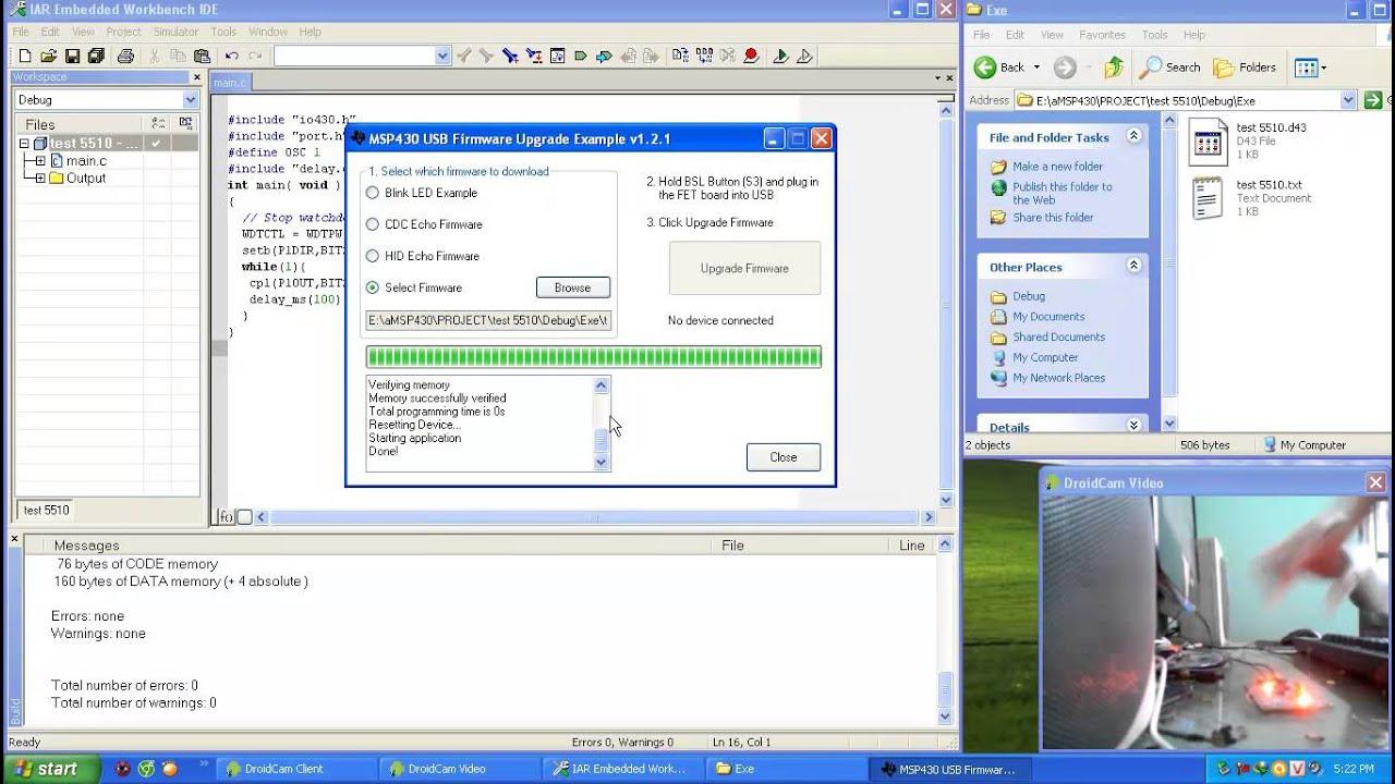 test USB BSL MSP430F5510