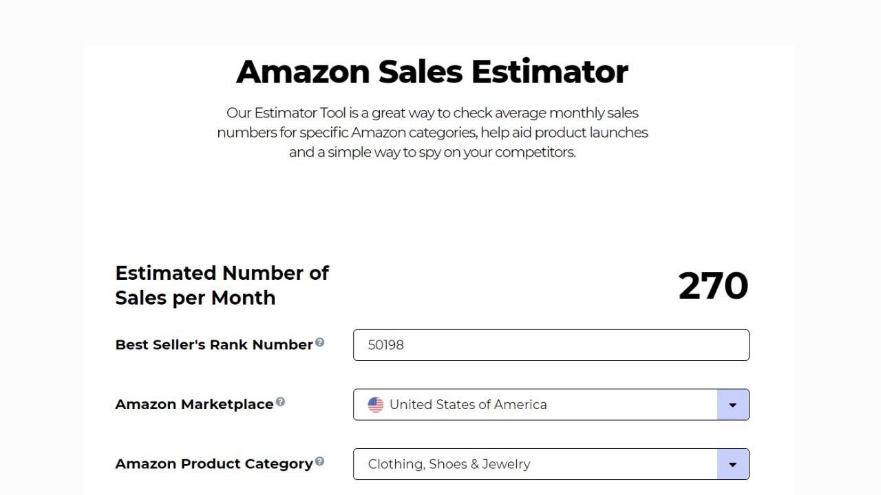free amazon sales tool estimator