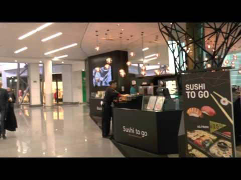 Duty Free, Shops, Sushi restaurants and cafe at Brussels Airport, Belgium