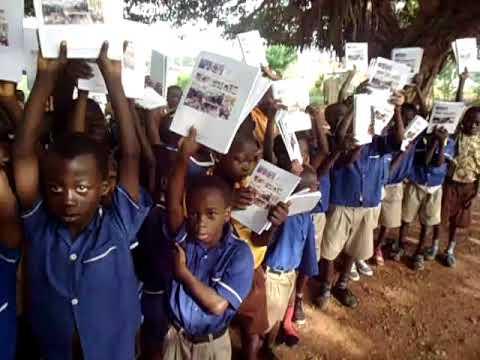 Marfokrom Basic Schools Children in Ghana receiving exercise book