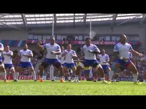 Samoa's powerful haka (Siva Tau war dance) taunts USA
