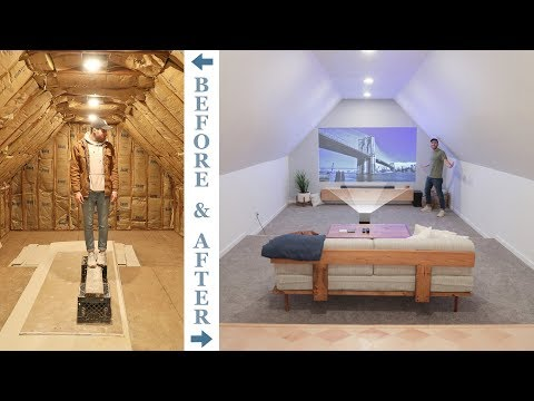 DIY ATTIC TO 4K HOME THEATER RENOVATION | how to remodel an attic.