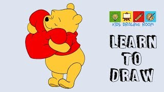 how to draw pooh bear holding a heart